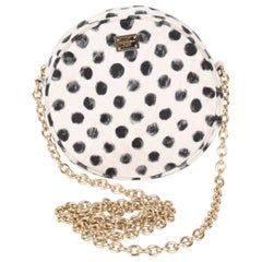 Dolce & Gabbana Black White Glam Polka Dot Cross Body Bag