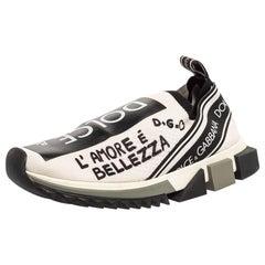 Dolce & Gabbana Black/White Graffiti Stretch Fabric Sorrento Slip On Size 39