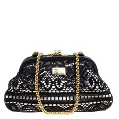 Dolce & Gabbana Black/White Lace and Leather Kiss Lock Frame Clutch