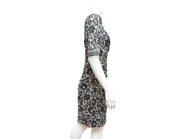 Dolce & Gabbana  Black & White Lace-Printed Dress In Good Condition For Sale In New York, NY