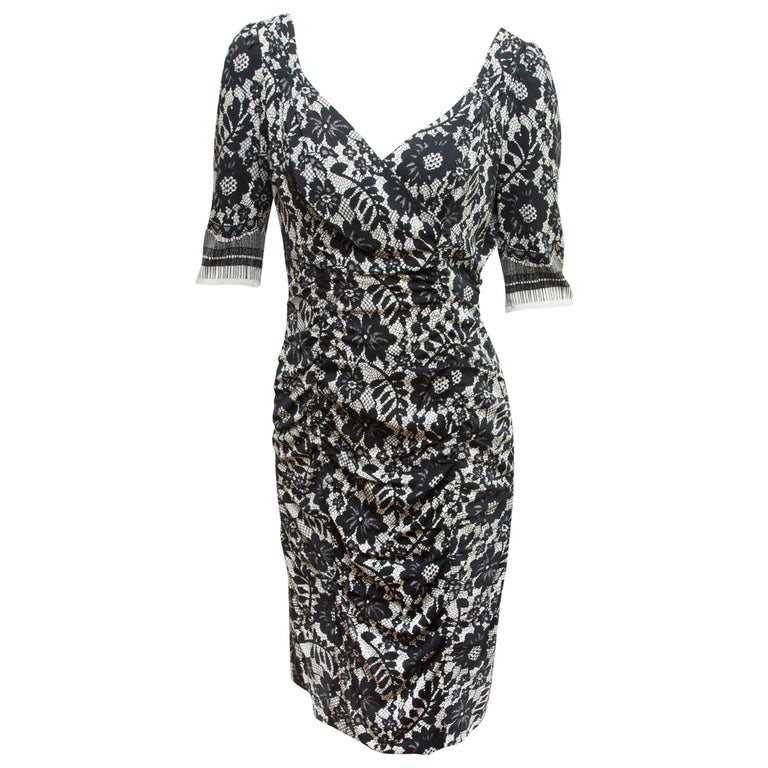 Dolce & Gabbana  Black & White Lace-Printed Dress For Sale
