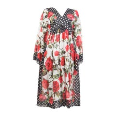 DOLCE & GABBANA black white red ROSE POLKA DOT EMPIRE Dress 38