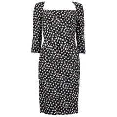 DOLCE & GABBANA black & white ROSE PRINT Sheath Dress 40