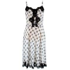 Dolce & Gabbana Black & White Silk Floral Print Slip Dress - Size Medium