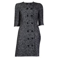 DOLCE & GABBANA black & white TWEED Double Breasted Dress 42