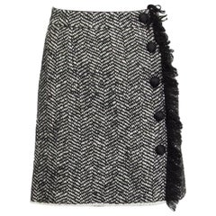 DOLCE & GABBANA black & white wool Side-Fringe Tweed Skirt 40 S