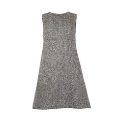 DOLCE & GABBANA black & white wool TWEED Tent Dress 40