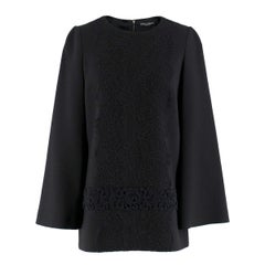 Dolce & Gabbana Black Wool-blend Embroidered Top IT 40