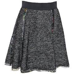 Dolce & Gabbana Black Wool Blend Tweed Mini Skirt S