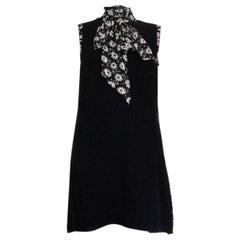 DOLCE & GABBANA black wool Boucle FLORAL SCARF Dress 40 S