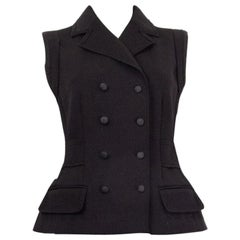 DOLCE & GABBANA black wool DOUBLE BREASTED Vest Jacket S