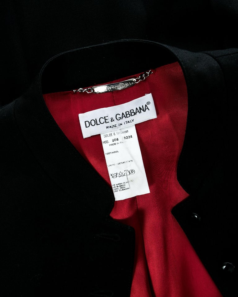 Dolce & Gabbana black wool full length button-up priest coat, ca. 1997 For Sale 5