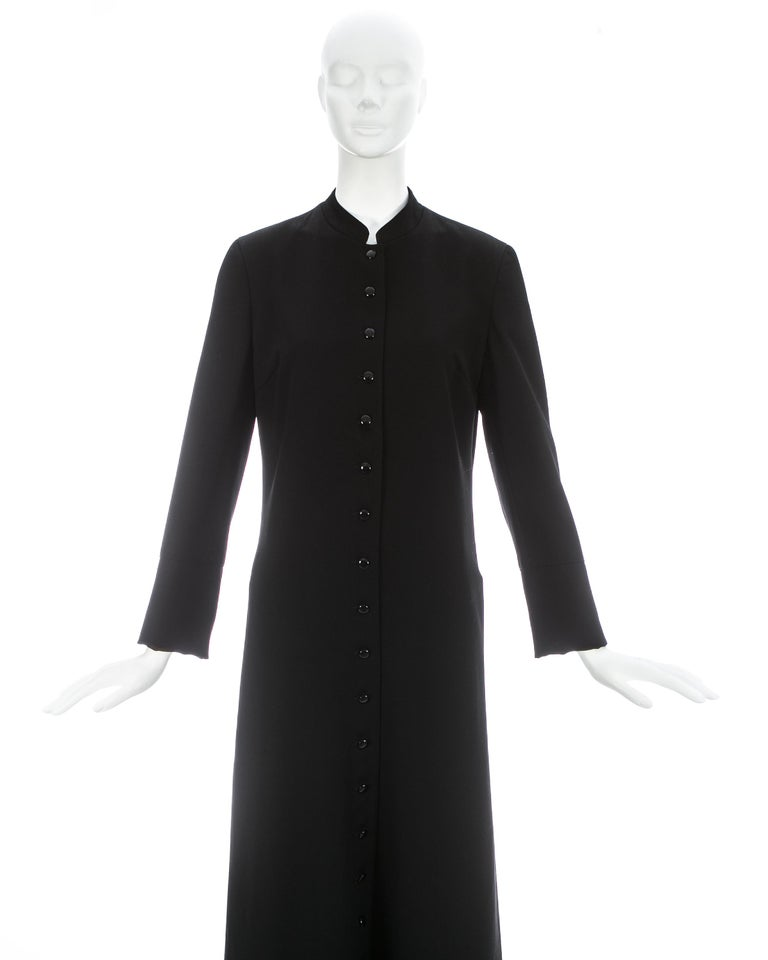 Dolce & Gabbana black wool full length button-up priest coat, ca. 1997 For Sale 1