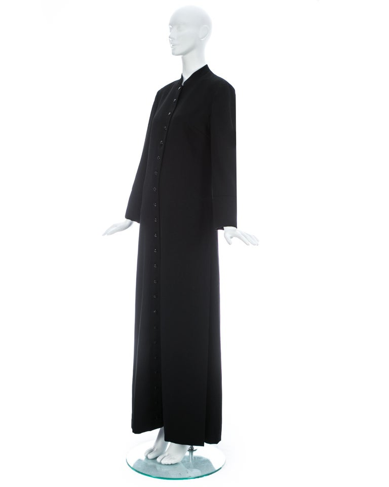 Dolce & Gabbana black wool full length button-up priest coat, ca. 1997 For Sale 2