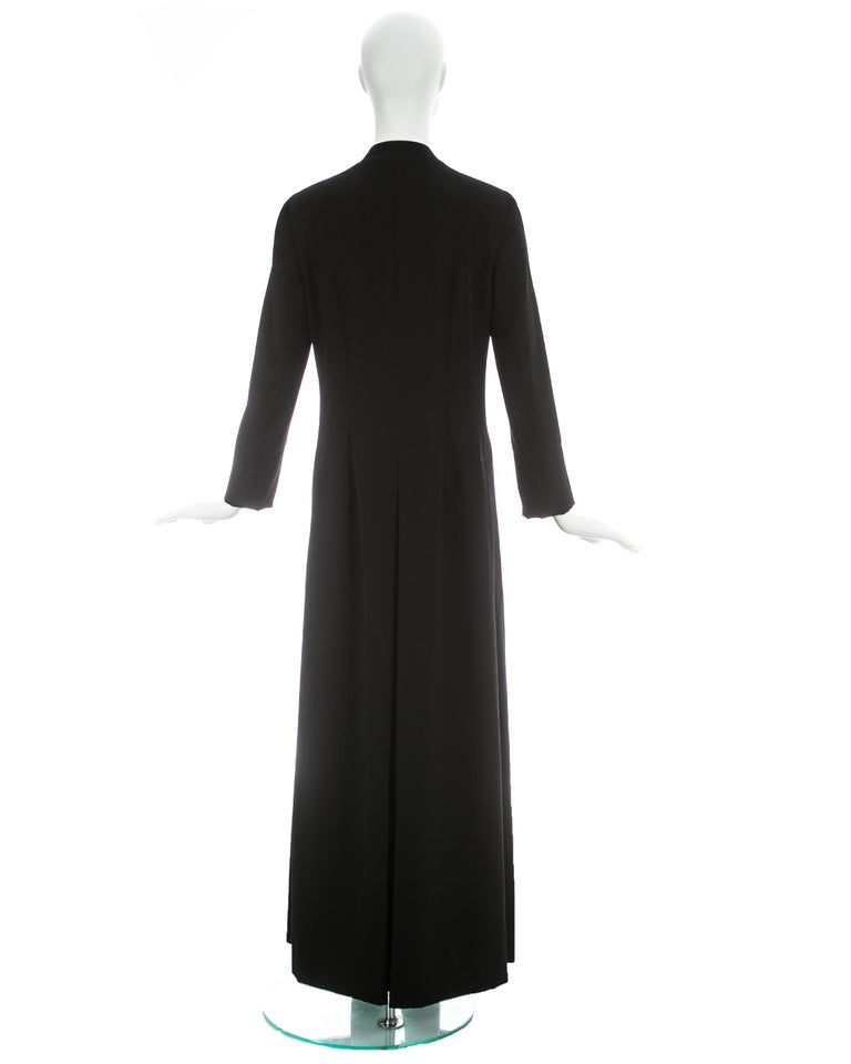 Dolce & Gabbana black wool full length button-up priest coat, ca. 1997 For Sale 4