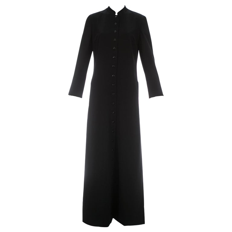 Dolce & Gabbana black wool full length button-up priest coat, ca. 1997 For Sale