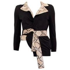 DOLCE & GABBANA black wool PYTHON TRIM Wrap Cardigan Sweater 40 S