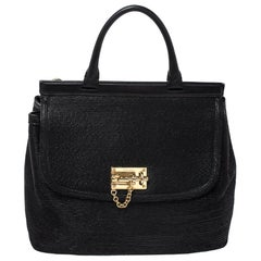 Dolce & Gabbana Black Woven Straw and Leather Miss Sicily Top Handle Bag