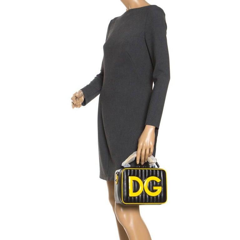 Dolce & Gabbana Black/Yellow Coated Canvas DG Girls Crossbody Bag In New Condition For Sale In Dubai, Al Qouz 2
