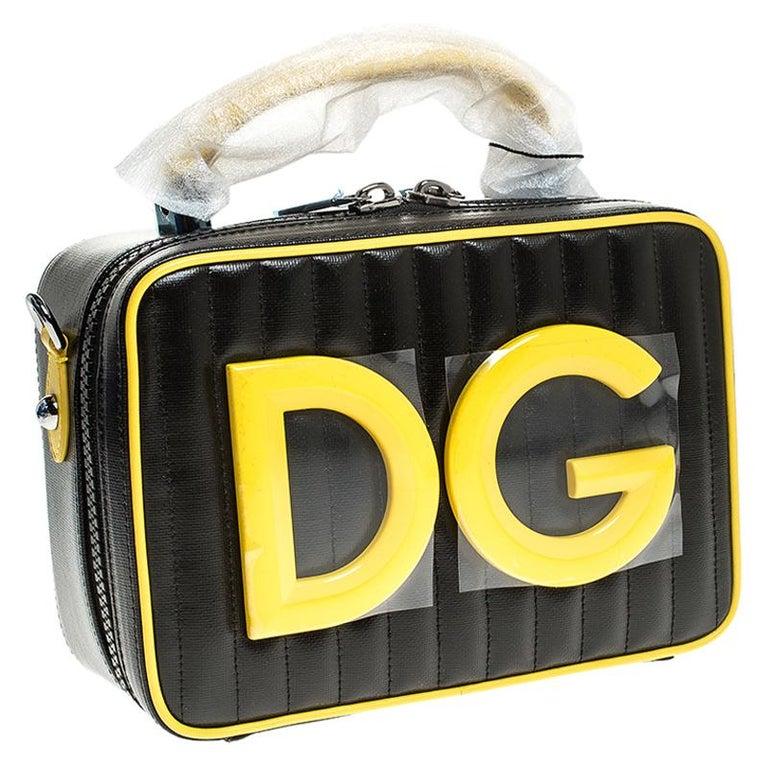 Women's Dolce & Gabbana Black/Yellow Coated Canvas DG Girls Crossbody Bag For Sale
