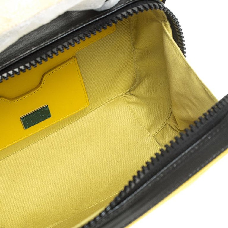 Dolce & Gabbana Black/Yellow Coated Canvas DG Girls Crossbody Bag For Sale 2