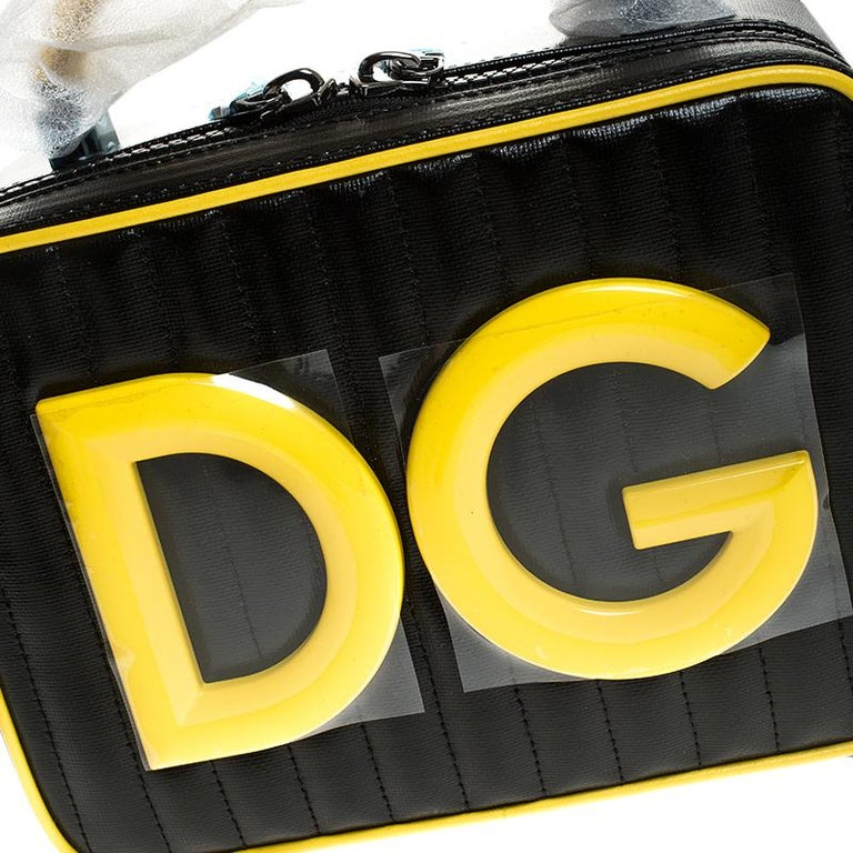 Dolce & Gabbana Black/Yellow Coated Canvas DG Girls Crossbody Bag For Sale 3