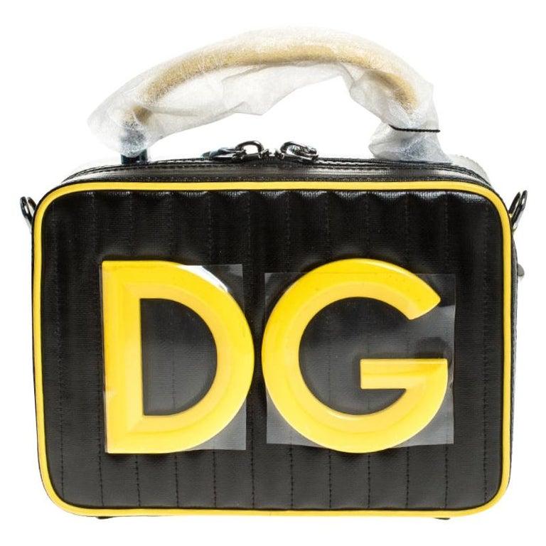 Dolce & Gabbana Black/Yellow Coated Canvas DG Girls Crossbody Bag For Sale