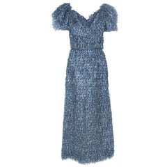 Dolce & Gabbana Blue and Silver Tinsel Puff Sleeve Dress M