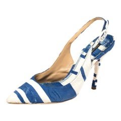 Dolce & Gabbana Blue and White Stripe Brocade Toe Slingback Sandals Size 38