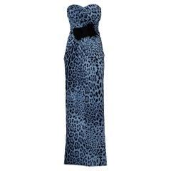 Dolce & Gabbana Blue Animal Printed Silk Bow Detail Strapless Maxi Dress M