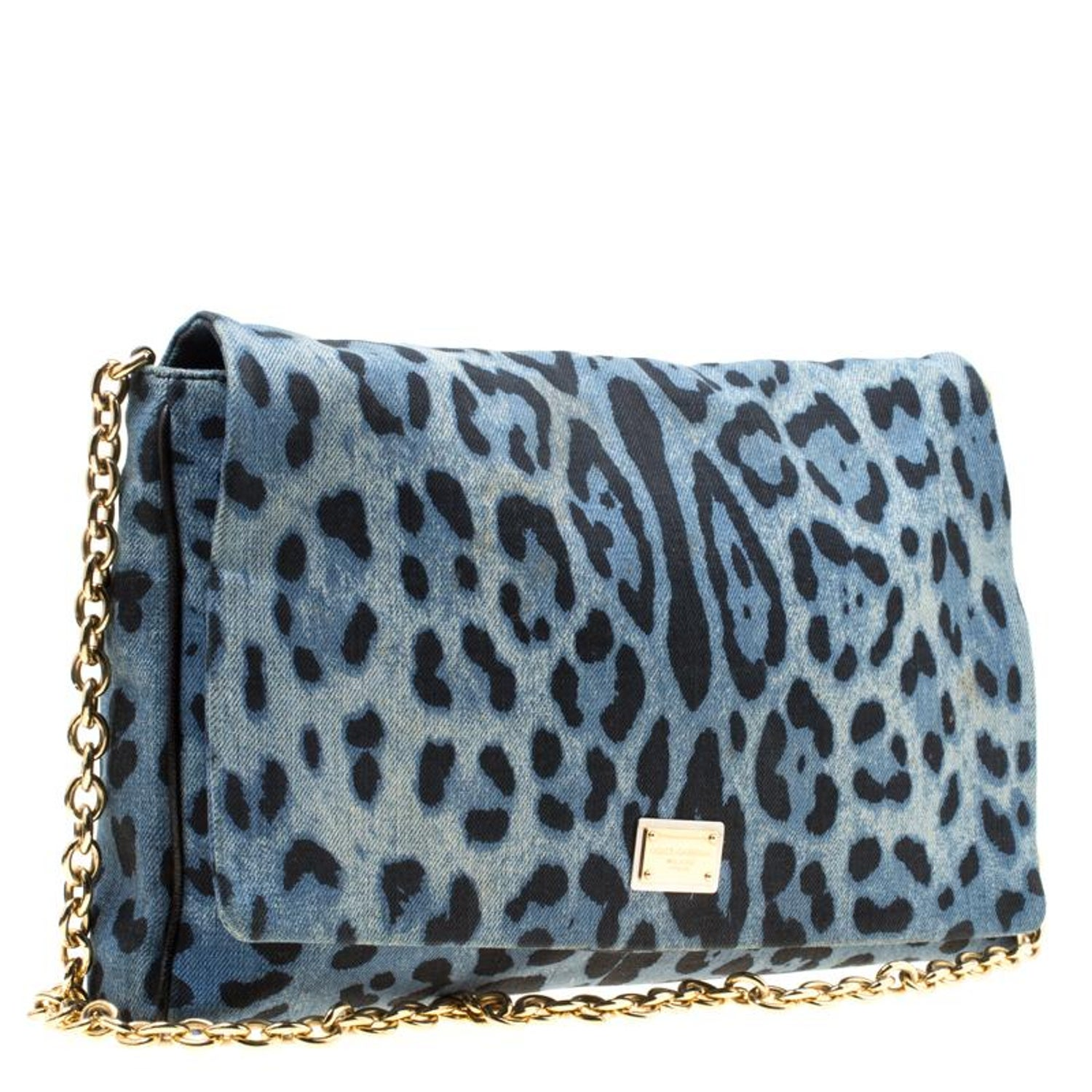 9ebc87650d Dolce and Gabbana Blue/Black Leopard Print Denim Chain Shoulder Bag For  Sale at 1stdibs