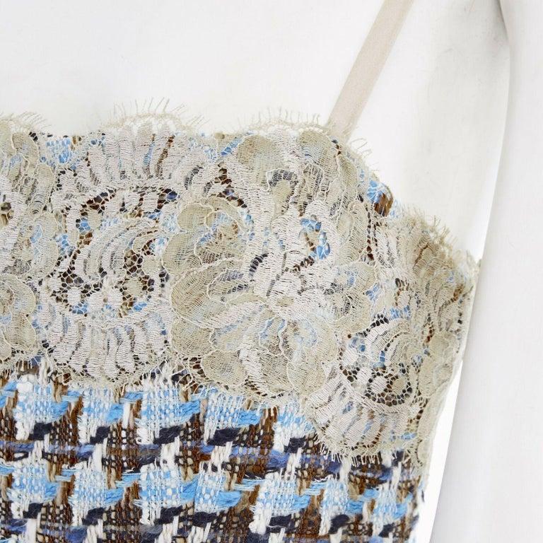 DOLCE GABBANA blue brown tweed taupe floral lace trimmed cocktail dress IT44 L  DOLCE & GABBANA Viscose, polyamide, elastane, nylon . Blue brown tweed . Taupe floral alce trimming . Adjustable shoulder straps . Flared skirt . Lace inserts at hem .