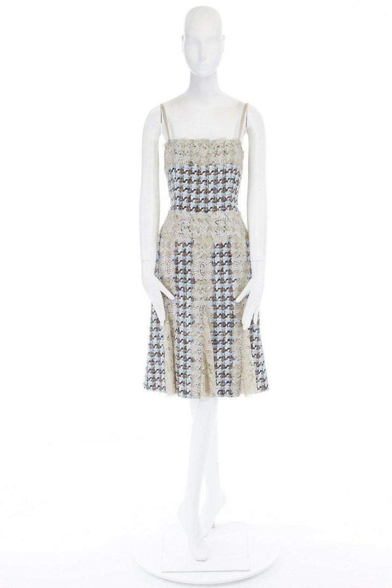 Gray DOLCE GABBANA blue brown tweed taupe floral lace trimmed cocktail dress IT44 L For Sale