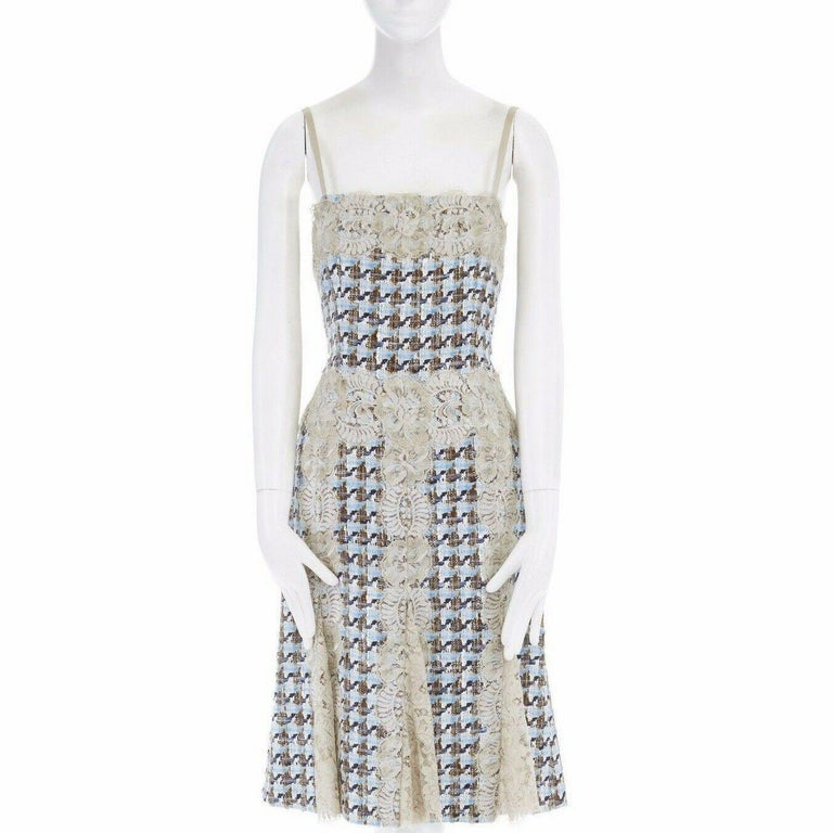 DOLCE GABBANA blue brown tweed taupe floral lace trimmed cocktail dress IT44 L In Excellent Condition For Sale In Hong Kong, NT