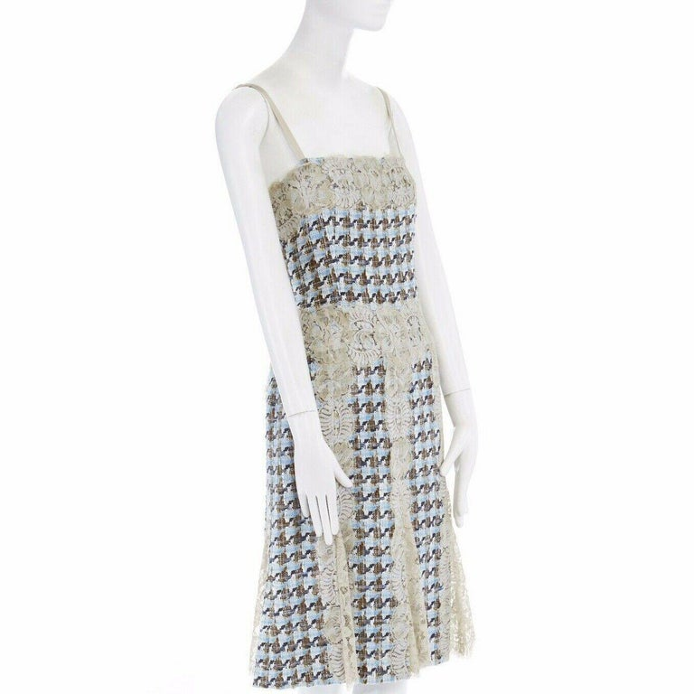 Women's DOLCE GABBANA blue brown tweed taupe floral lace trimmed cocktail dress IT44 L For Sale