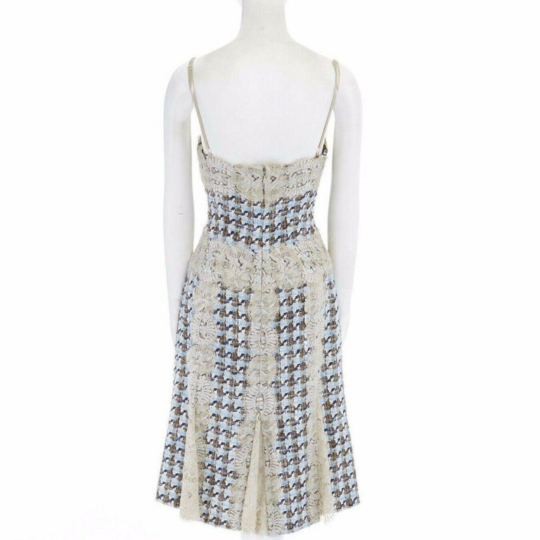 DOLCE GABBANA blue brown tweed taupe floral lace trimmed cocktail dress IT44 L For Sale 2