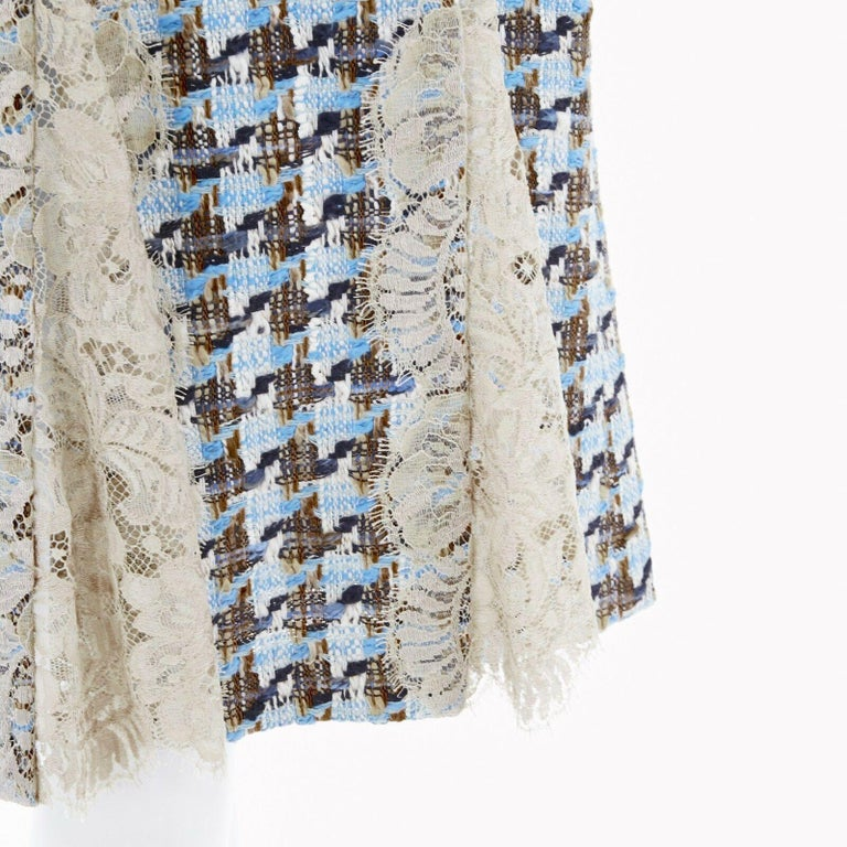DOLCE GABBANA blue brown tweed taupe floral lace trimmed cocktail dress IT44 L For Sale 4