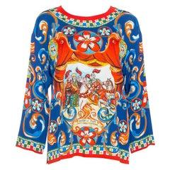 Dolce & Gabbana Blue Carretto Siciliano Print Silk Crew Neck Top S