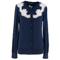 Dolce & Gabbana Blue Cashmere and Silk Lace Trim Cardigan - Size S