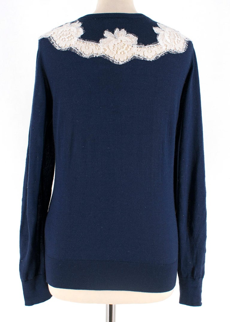 Dolce & Gabbana Blue Cashmere and Silk Lace Trim Cardigan XS 40  In Good Condition For Sale In London, GB