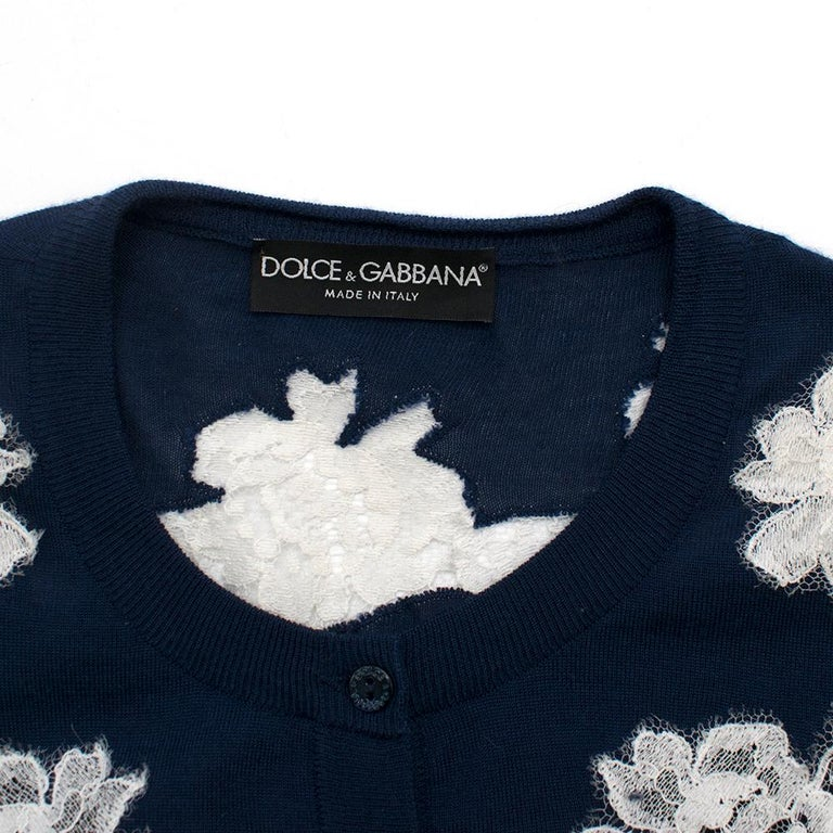 Women's Dolce & Gabbana Blue Cashmere and Silk Lace Trim Cardigan XS 40  For Sale