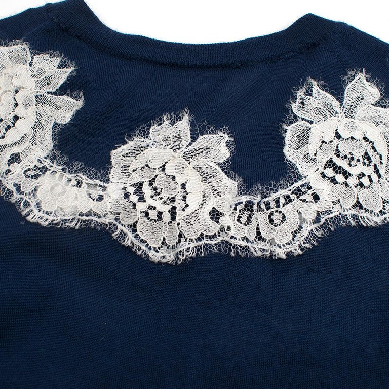 Dolce & Gabbana Blue Cashmere and Silk Lace Trim Cardigan XS 40  For Sale 1