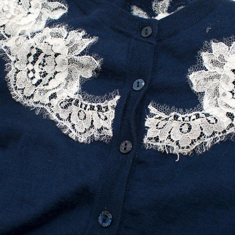 Dolce & Gabbana Blue Cashmere and Silk Lace Trim Cardigan XS 40  For Sale 4
