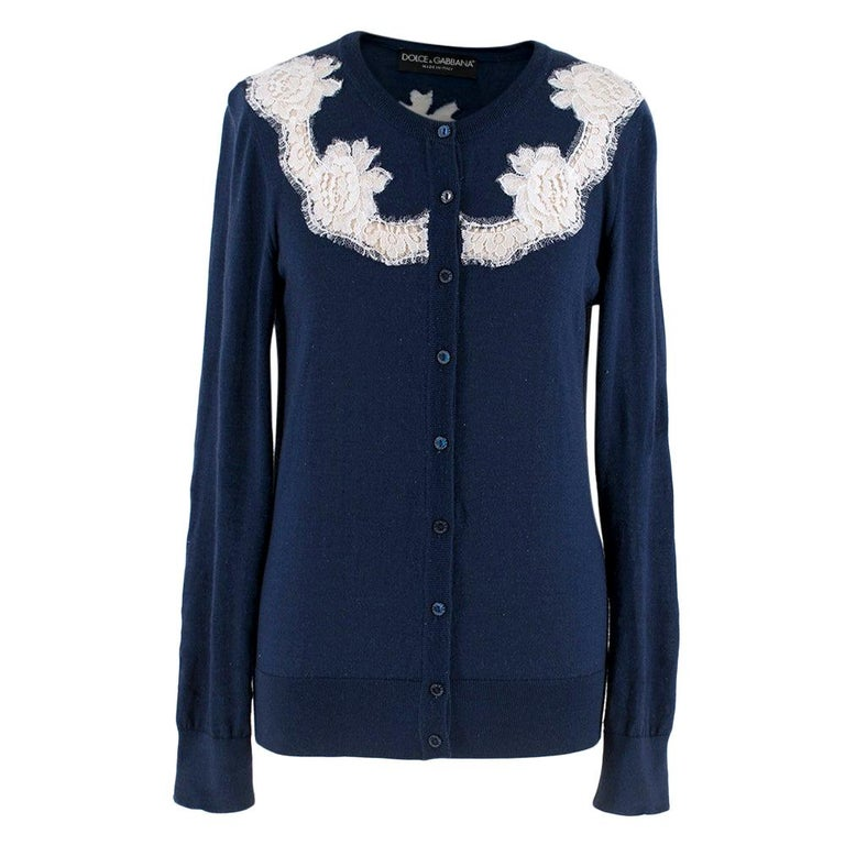 Dolce & Gabbana Blue Cashmere and Silk Lace Trim Cardigan XS 40  For Sale