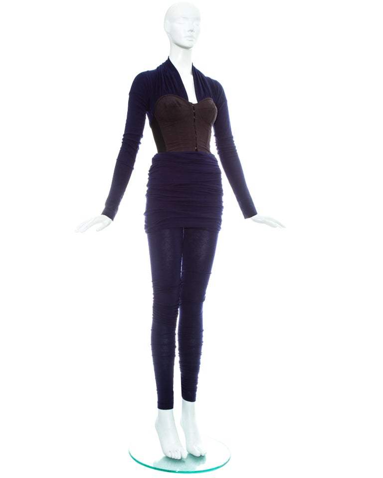 Dolce & Gabbana blue corset figure hugging jumpsuit, fw 1990 In Excellent Condition In London, GB