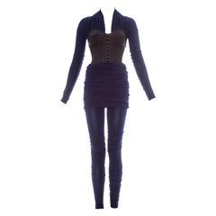 Dolce & Gabbana blue corset figure hugging jumpsuit, fw 1990