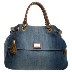 Dolce & Gabbana Blue Denim and Leather Studded Handle Chain Tote