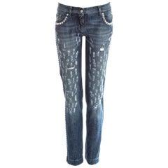 Dolce & Gabbana blue denim embellished distressed jeans, ss 2001