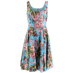 Dolce & Gabbana Blue Floral Print Sleeveless Dress - IT46