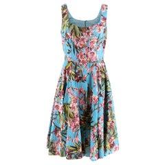 Dolce & Gabbana Blue Floral Print Sleeveless Dress - Size US 10